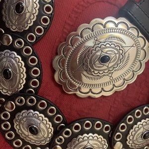 Tony Lama Black Leather Concho Belt